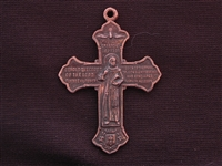 Large Vintage Replica St Francis & St Anthony Cross Medallion Antique Copper Colored Pendant
