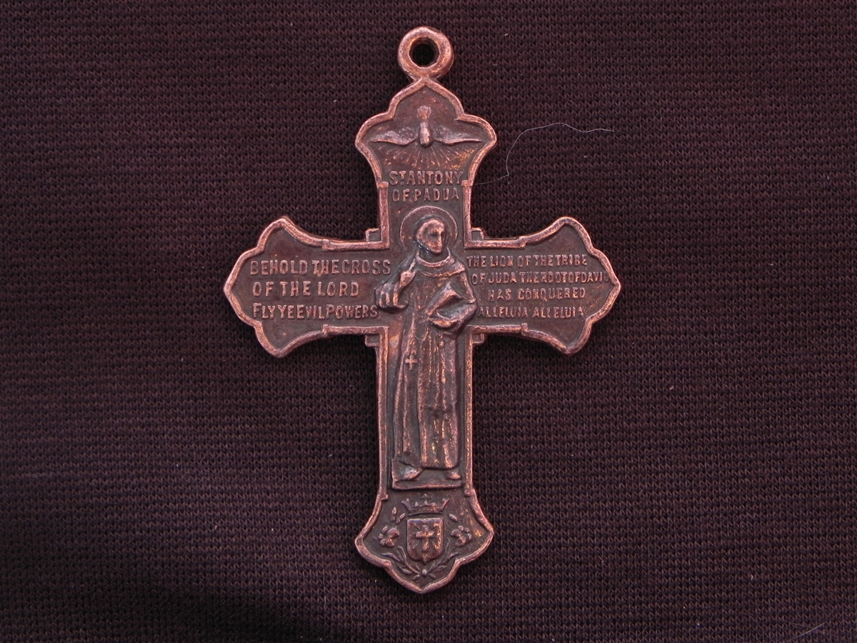 Vintage replica st francis st anthony cross medallion antique large vintage replica st francis st anthony cross medallion antique copper colored pendant biocorpaavc