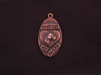 Protect My Friend With Vintage St Francis (Patron Saint Of Animals) Antique Copper Colored Tag