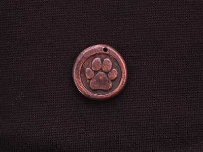 Large Paw With Vintage St Francis (Patron Saint For Animals) On Back Antique Copper Colored Wax Seal