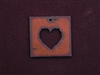Rusted Iron Square With Heart Cut Out Pendant