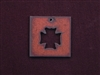 Rusted Iron Square With Chopper Cut Out Pendant