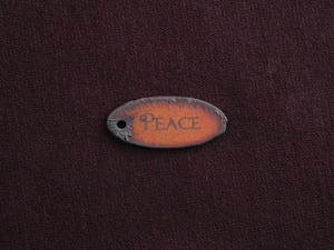 Rusted Iron Oval Peace Pendant With One Hole