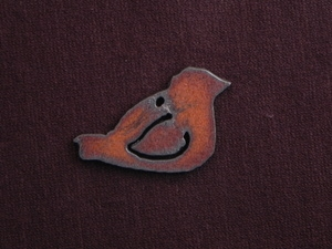 Rusted Iron Medium Chubby Bird Pendant