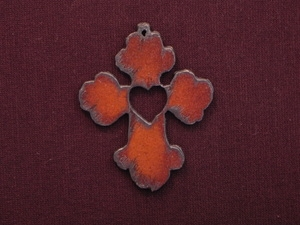 Rusted Iron Chubby Cross With Heart Cut Out Pendant