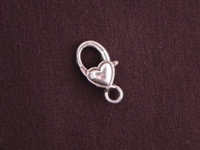 Lobster Clasp Silver Colored With Plain Heart