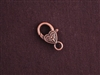 Lobster Clasp Antique Copper Colored Scroll Heart