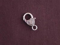 Lobster Clasp Silver Colored Scroll Heart