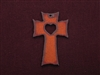 Rusted Iron Cross With Heart Cut Out Pendant
