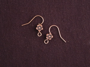 Ear Wires Antique Copper Colored Brass Flowers