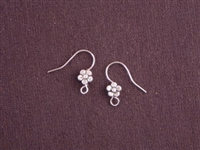 Ear Wires Silver Colored Brass Flowers