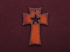 Rusted Iron Cross With Star Cut Out Pendant