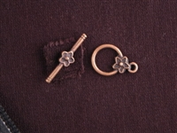 Toggle Clasp Antique Copper Colored Star Flowers