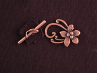 Toggle Clasp Antique Copper Colored 5 Petal Flowers