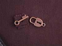 Toggle Clasp Antique Copper Colored Lock & Key