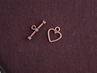 Toggle Clasp Antique Copper Colored Simple Heart