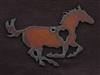 Rusted Iron Running Horse With Heart Pendant
