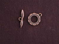 Toggle Clasp Antique Copper Colored Open Flower