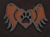 Rusted Iron Winged Heart With Paw Print Pendant