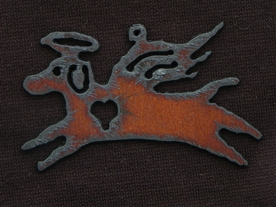 Rusted Iron Angel Dog Pendant