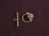 Toggle Clasp Antique Copper Colored Rose
