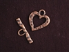 Toggle Clasp Antique Copper Colored Large Hammered Heart