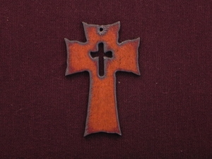 Rusted Iron Cross With Cross Cut Out Pendant