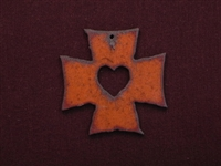 Rusted Iron Chopper Cross With Heart Cut Out Pendant