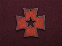 Rusted Iron Chopper Cross With Star Cut Out Pendant