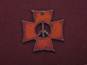 Rusted Iron Chopper Cross With Peace Cut Out Pendant