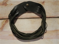 Leather Shredded Necklace Olive Green