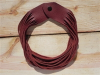 Leather Shredded Necklace Deep Rust
