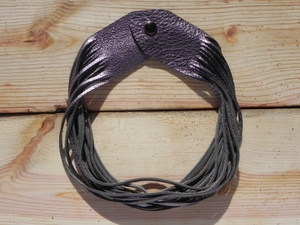 Leather Shredded Necklace Antique Silver
