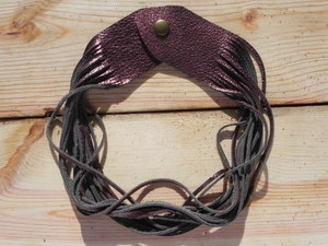 Leather Shredded Necklace Antique Bronze