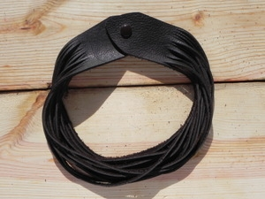 Leather Shredded Necklace Dark Chocolate Brown
