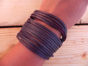 Leather Shredded Cuff Bracelet Plum Purple
