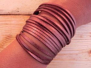 Leather Shredded Cuff Bracelet Antique Copper