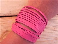 Leather Shredded Cuff Bracelet Fuchsia