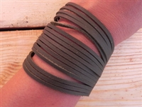 Leather Shredded Cuff Bracelet Olive Green