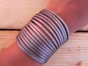 Leather Shredded Cuff Bracelet Antique Silver