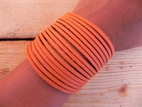 Leather Shredded Cuff Bracelet Creamsicle Orange