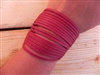 Leather Shredded Cuff Bracelet Cranberry Red