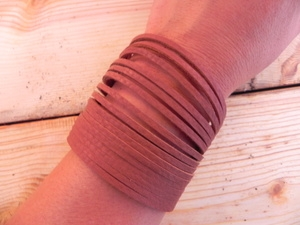Leather Shredded Cuff Bracelet Light Rust