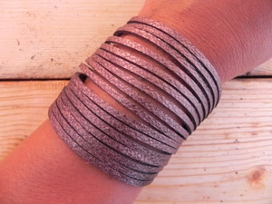 Leather Shredded Cuff Bracelet Antique Bronze