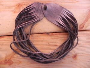 Leather Shredded Choker Antique Silver
