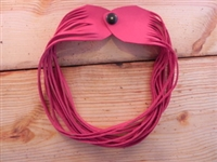 Leather Shredded Choker Fuchsia