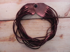 Leather Shredded Choker Antique Copper