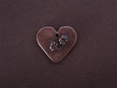 Small Heart With Paw Prints Antique Copper Colored Fresh Lipstick Pendant