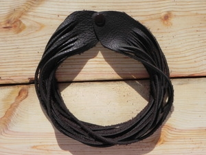 Leather Shredded Choker Dark Chocolate Brown