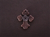 Cross With Flower Center Antique Copper Colored Fresh Lipstick Pendant
